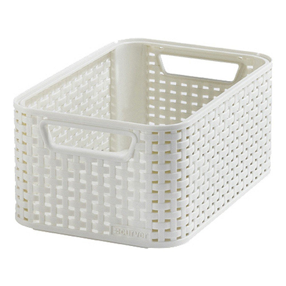 Curver Sand Knit Storage Baskets: Curver 3614 Off White Storage Basket Rattan Look Size S